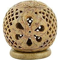Origin Crafts Stone Tealight Candle Holders - 8 Cm X 8 Cm X 10 Cm, Cream