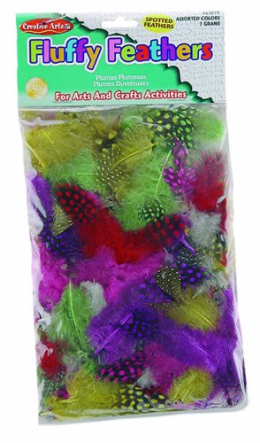 Charles Leonard Inc., Feathers, Spotted, Assorted Colors, 7 Grams/Bag (63070)