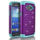 Galaxy Grand Prime Case, Samsung Galaxy Grand Prime G5308 Case, Starshop Slim Dual Layer Armor Phone Case Cover With Spot Diamond Teal/Purple