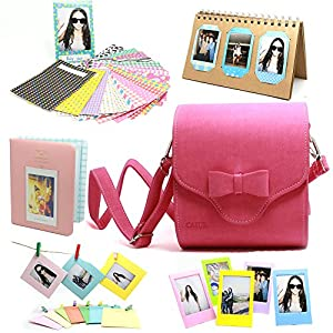 Fujifilm Instax Mini Instant Camera Accessory Bundles Set(Included: Universal Travel Instax Mini Case Bag, Lovely Pink/ Desk Calendar Instax Mini Album/ Colorful Decor Sticker Borders/ Cute Portable Photo Ablum, Pink/ 3 Inch Photo Frame/ Wall Decor Hanging Album)