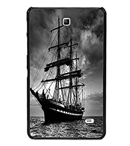 ifasho Designer Phone Back Case Cover Samsung Galaxy Tab 4 (7.0 Inches) T230 T231 T235 LTE ( Purple Leather Look Classy Formal Pose Look )