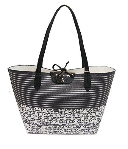 Patrizia Pepe borsa shopping 2V5452A1ZV riga base nera reversibile