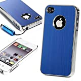 ATC For At&t Sprint Verizon Apple Iphone 4 4G 4S Premium Chrome Brushed Aluminum Bumper Case Back Cover(Blue) with Free Screen Protector & Touch Stylus