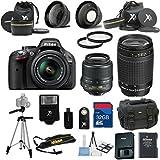 Nikon D5200 Black Camera with Nikon 18-55mm VR Lens Premium Bundle + Nikon 70-300mm Zoom Lens + 2pc Filter Kit + XIT Telephoto Lens + 32GB Bandwidth Memory Card + 15pc Accessory Bundle Kit