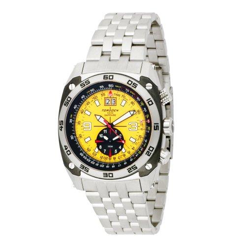 Torgoen T70505B01 - Reloj analógico de cuarzo para mujer, correa de acero inoxidable color gris (cronómetro)