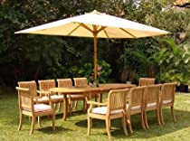 "Hot Sale Giva Grade-A Teak Wood luxurious 11 pc Dining Set : 94"" Double Extension Oval Table and 10 Arm / Captain Chairs"