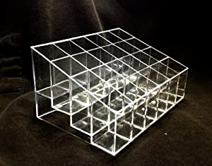 Clear Acrylic Trapezoid 24 Lattices Lipsticks Cosmetic Organizer Display Holder