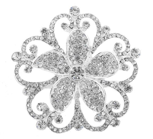 Silver  Clear Iced Out Flower Brooch & Pin