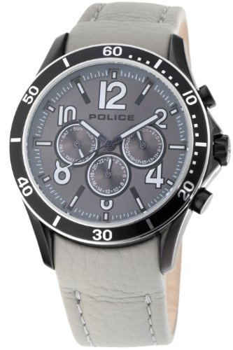 Police Mens Watch Theory with Grey Leather Strap