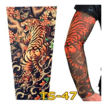 Coolbiz men 39 s clown and skull print tattoo for Tattoo sleeves amazon