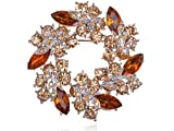 Amber Topaz Crystal Rhinestone Floral Flower Leaf Reef Craft Fashion Brooch Pin