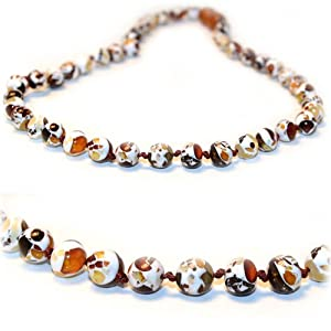 The Art of CureTM *SAFETY KNOTTED* Mosaic Marble-(Unisex) - Certified Baltic Amber Baby Teething Necklace Highest Quality Guaranteed- Anti Flammatory, Drooling & Teething Pain. Easy to Fastens with a Twist-in Screw Clasp Mothers Approved Remedies!