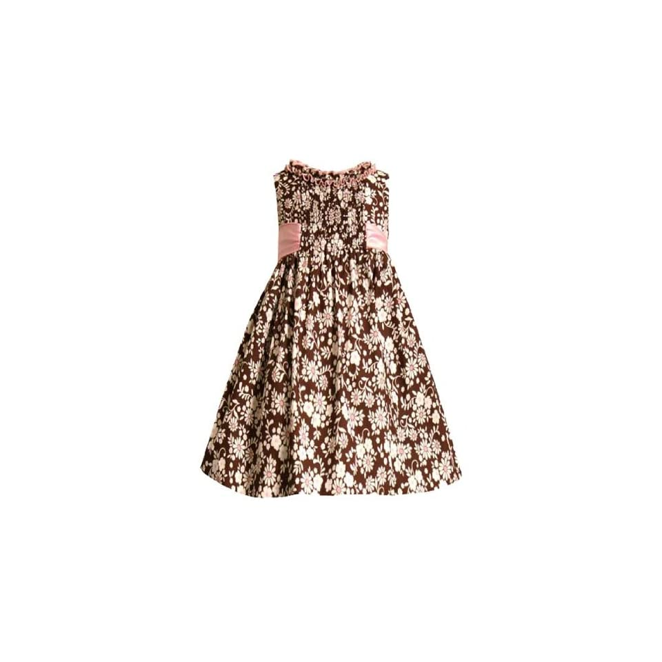 Bonnie Jean Little Girl Girls 4 6X Brown Ivory Smocked Front Foral Print Dress