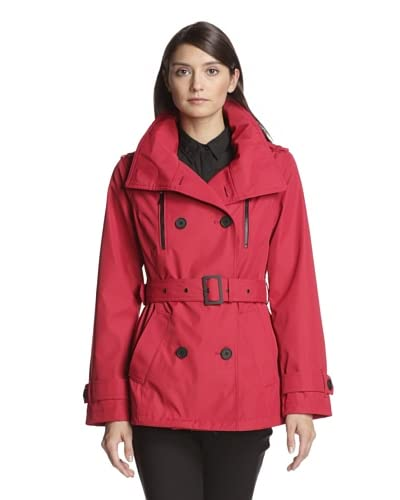 London Fog Women's Short Double Breasted Trench Coat with Closures