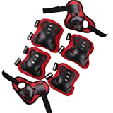 Nsstar 6pcs Kid Children Roller Bicycle Bike Skateboard Extreme Sports Bogu Protector Guards Pads Sport Protective Gear Safety Pad Safeguard Knee Elbow Wrist Support Pad Set Equipment (Black and Red)