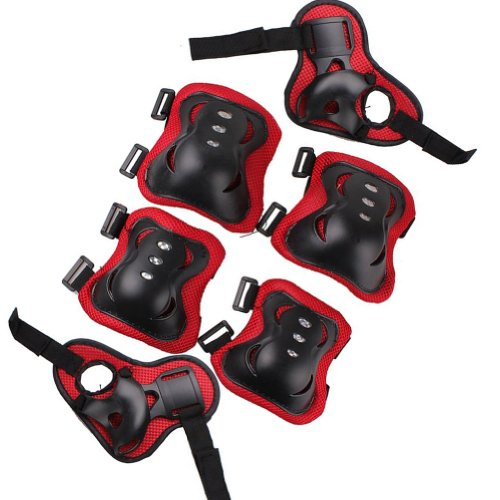 Nsstar 6Pcs Kid Children Roller Bicycle Bike Skateboard Extreme Sports Bogu Protector Guards Pads Sport Protective Gear Safety Pad Safeguard Knee Elbow Wrist Support Pad Set (Style 1:Black&Red)