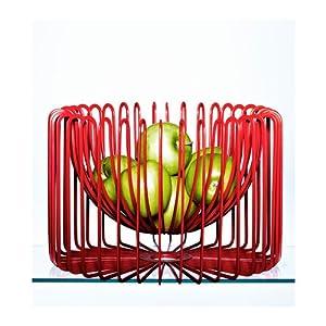 Designer Fruit Bowl Epoxy Powder Coated Steel Colour Red