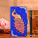 Locaa(TM) HTC Desire 510 HTC510 3D Bling Peacock Case + Phone stylus + Anti-dust ear plug Deluxe Luxury Crystal Pearl Diamond Rhinestone eye-catching Beautiful Leather Retro Support bumper Cover Card Holder Wallet Cases [Peacock Series] Purple case - Pin