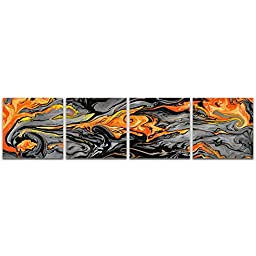 Abstract Acrylic Art \'Lava Orange\' Reverse-Printed Acrylic, Contemporary Orange, Grey & Black Plexiglass Plastic Art, Modern Accent Panels, Abstract Artwork