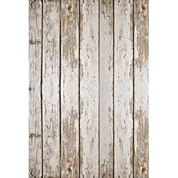 New Photography Floor Drop White Weathered Wood Background Mat CF9154 Rubber Backing, 4\'x5\' High Quality Printing, Roll up for Easy Storage Photo Prop Carpet Mat (Can Be Used for Decorating Home Also)
