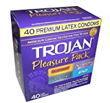 Trojan Pleasure Pack 40 Premium Latex Condoms – Ecstasy, Sensations, Ultra Thin, and ENZ Lubricated – Awesome Assortment