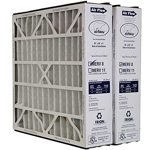 "Heating, Cooling & Air Trion Air Bear 255649-103 (2 Pack) Pleated Furnace Air Filter 20""x20""X5"" MERV 8"