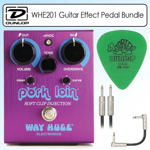 Dunlop WHE201 Way Huge Electronics Pork Loin Soft Clip Injection Overdrive Guitar Effects Pedal Bundle