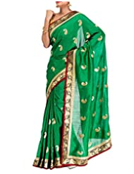 Cbazaar Breathtaking Green Art Dupion Silk Saree