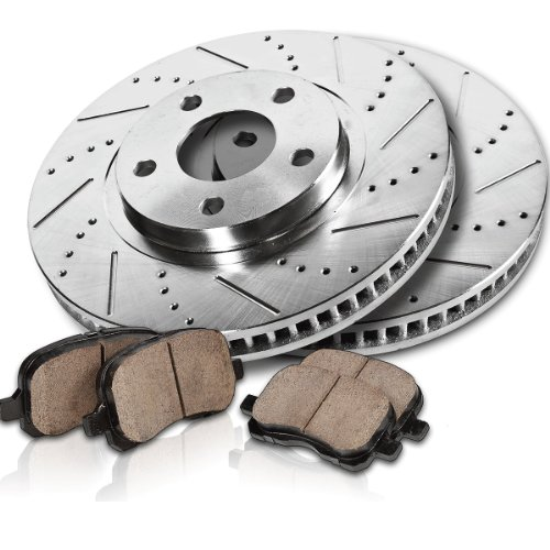 Callahan FRONT Performance Drilled/Slotted 4 Lug 256 mm [2] Rotors + [4] Quiet Low Dust Ceramic Pads Kit CFXPJ21070