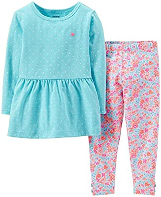 Carter's Baby Girls' 2 Piece Floral Jegging Set (Baby) - Blue
