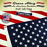 US Flag 3x5 Made in US - The Best American Flag. US Flags 3x5 - 100% American Made and Satisfaction Guaranteed. Fly Your US American Flag Proudly. This US Banner Flag is a Limited Edition US Flag 3x5 by Grace Alley. Meets US Flag Code.