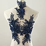 beaded flower sequence lace applique motif sewing bridal wedding 3in1 A5 3D (Navy) (Color: Navy)