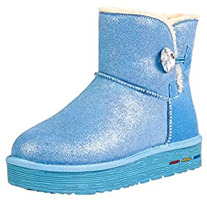 buyiniao Women's Winter Warm Outdoor Flat Rivet Ankle Snow Boots 35EU Blue