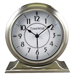 Collegiate Metal Alarm Clock Brushed Nickel