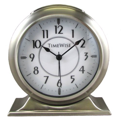 Collegiate Metal Alarm Clock Brushed Nickel