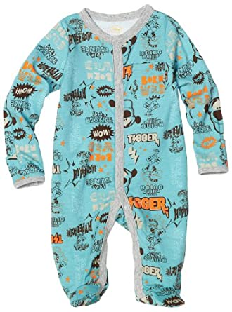Disney Baby-Boys Newborn Tigger Let's Bounce Sleep and Play Romper, Blue, 0-3 Months