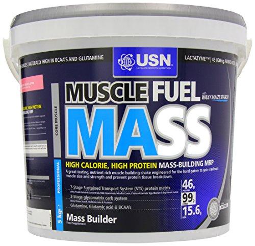 USN Muscle Fuel Mass Muscle and Mass Gain Shake Powder, Strawberry - 5 kg