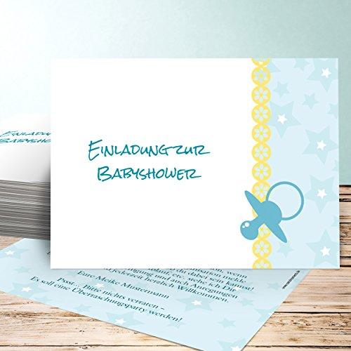 Babyparty Einladungskarten, Schnuller 55 Karten, Horizontal einfach 148x105 inkl. Umschläge, Blau