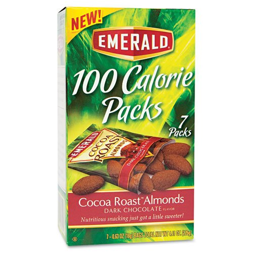 Emerald Products - Emerald - 100 Calorie Pack Dark Chocolate Cocoa Roast Almonds, .63 oz Packs, 7 Packs/Box - Sold As 1 Box - A healthy and satisfying go-to snack. - An excellent source of vitamin E, calcium and iron. - Perfectly sized to quiet your hunge