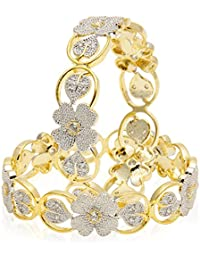 Jewels Galaxy American Diamond Floral Shape Gold Plated Bangles For Women