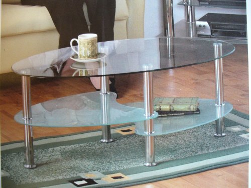 CARA MODERN LARGE COFFEE TABLE, GLASS SHELVES, CHROME LEGS