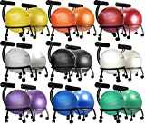 """Isokinetics Inc. Brand Fitness Ball Chair - Metal Frame - 2 Frame Finishes - Exclusive: 60mm (2.5"""") Wheels - Multiple Ball Color Choices - Adjustable Base and Back Height"""