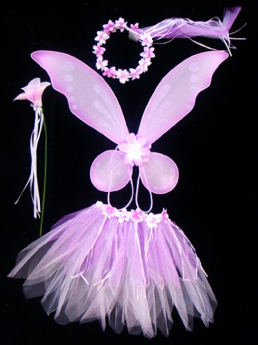 Kids Purple & Lavender Pixie Flower Fairy Princess 4 Piece Costume. Includes Wings, Wand, Halo and Tutu