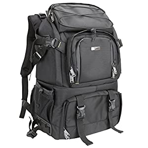 Evecase Extra Large DSLR Camera/Laptop Travel Backpack Gadget Bag w/ Rain Cover - Black