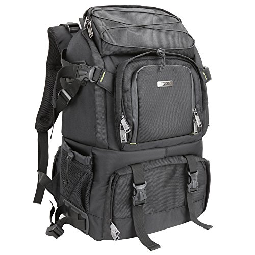 Evecase Extra Large DSLR Camera/Laptop Travel Backpack Gadget Bag w/ Rain Cover - Black (Panasonic G6 Waterproof compare prices)