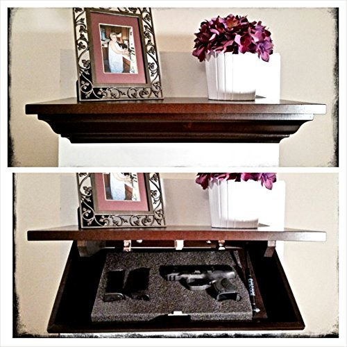 Covert Cabinets Hg-21 Handgun Cabinet Wall Shelf Hidden Storage, Espresso Finish (Maple Wood) W/Led Light
