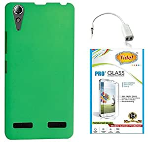 Tidel Stylish Rubberized Plastic Back Cover For Lenovo A6000 Shot ( Green ) With Tidel 2.5D TempePink Glass & Audio Spliter