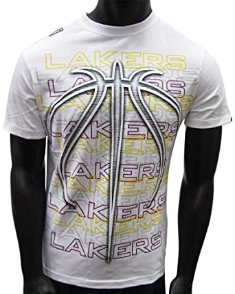 Los Angeles Lakers Format Basketball Grip White T-shirt by UNK
