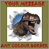 Personalised T Rex Dinosaur Birthday Cake Topper - 7.5 inch Square Edible Icing Sheet