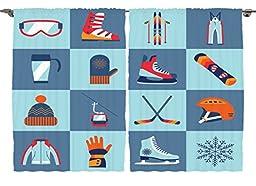 Ambesonne Teen Boys Girls Kids Room Decor Collection, Winter Sports Ski Boot Cap Glasses Glove Helmet Skates Snowboard Fun, Window Treatments for Kids Bedroom Curtain 2 Panels Set, 108X84 Inches
